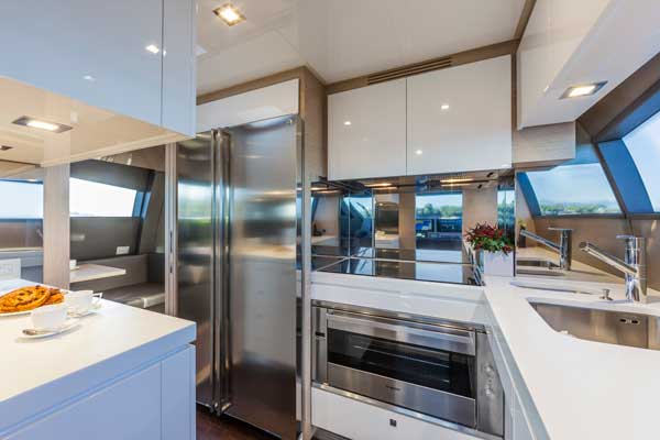 The galley on board the Ferretti 750