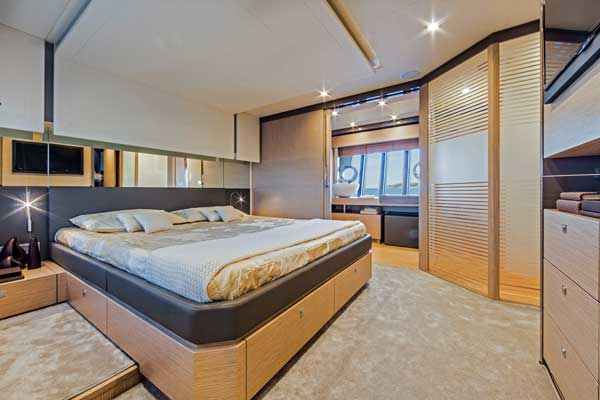 A palatial midships owner's suite—or karaoke lounge, if you prefer