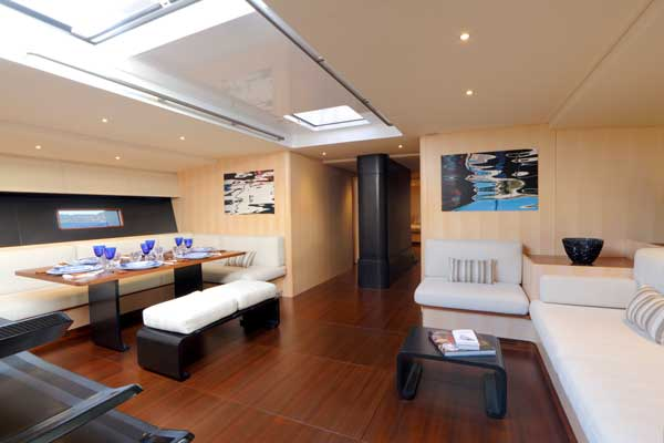 The level of luxury accommodation on this racing sailboat is to superyacht standards.