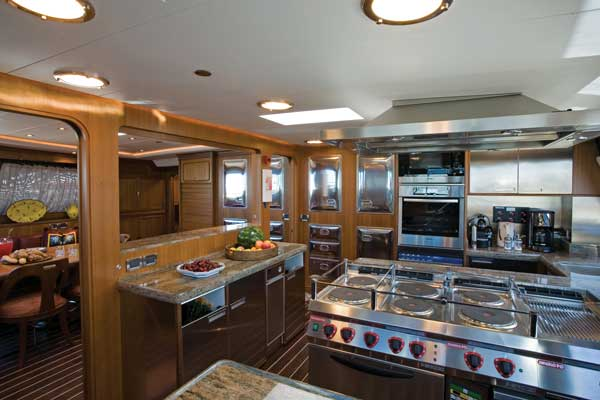 Yacht design the american way yachts international Ship galley kitchen design