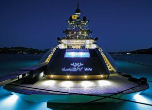 At night, the underwater lights in the aft deck pool are mesmerizing and enhance the overall aesthetics of Lady M.